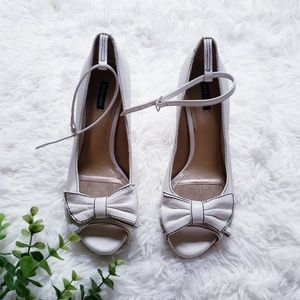 Alex Marie Open Toe Ankle Strap white Heels